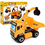 Jellydog Toy Construction Trucks, 3-in-1 Take Part Toys, Inertia ToyFriction PoweredEngineering Vehicles, Building Play Construction Toy, Carton Truck Car, DIY Assembly Building Truck Puzzles For Ki