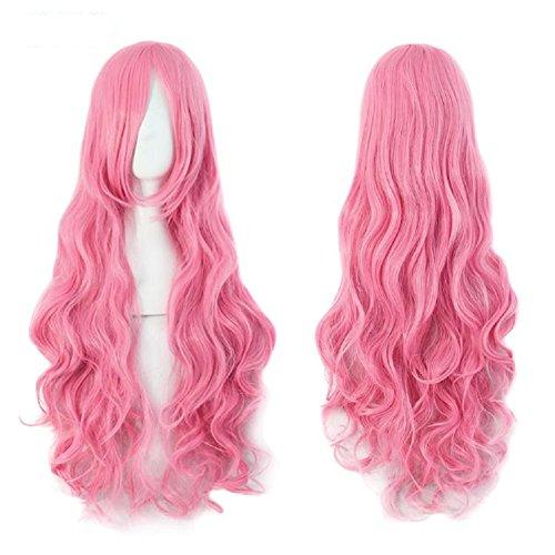 80cm lunghi ondulati parrucche Cosplay falso Bangs 24colori rosa nero blu marrone biondo donne parrucca termoresistente capelli sintetici