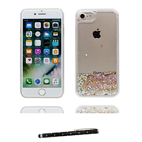 """Hülle iPhone 6, [ Liquid Fließendes Glitzer Bling Bling ] iPhone 6S Handyhülle Cover (4.7 zoll), Floating sparkles, iPhone 6 Case Shell (4.7"""") Anti-Beulen & Touchstift- Pink Bling # 4"""
