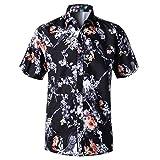 MOTOCO Hombre 3D Floral Camisas de Ajuste Regular Camisa Estampada Estampada Causal Camisa de Fiesta de Playa de Manga Corta Blusa(L,Negro)