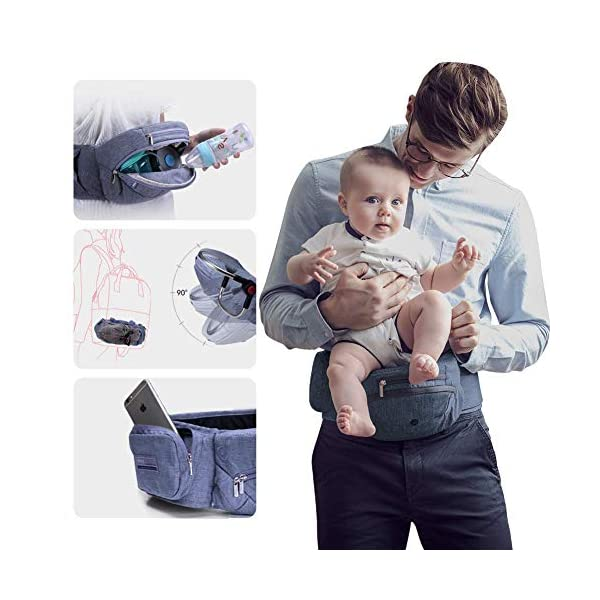 Bebamour Foldable Baby Carrier Hip Seat Baby Carrier Newborn to Toddler with Large Pockets Ergonomic Toddler Waist Seat for 0-36 Months (Dark Grey) bebear ❤️Unique Designed - The baby carrier can be foldable. There is a foldable aluminum tube support in the hip seat. When you going out, you can folding the hip seat and put into the pouch easily. ❤️Two Zipper Pockets - 1 front zipper pocket can put bottles, diapers. 1 side zipper pocket fits cellphone or other small things. It is good for you to take your baby outside without bag. ❤️Three Carry Styles: Horizontal Position, Facing Inward and Facing Forward Position. Weight 33 pounds and for your baby who is 0-36 months. 1