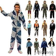 Miunana 5 Fashionista Trajes de Ropas Abrigo Chaqueta Pantalones con Manga Larga Vestir Casual para Ken Muñeco Novio Príncipe Barbie Doll