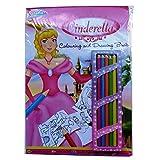 A4 Cinderella Färbung und Zeichnung Buch mit Bleistift - 20 Blatt von White & 30 in Farbe