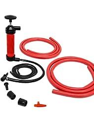 Pompe à main multifonctionnelle   pour Gonfler / Aspirer air et liquides   pour Vider Transférer essence carburant eau   Gonfleur manuel pour vélo ballons   rouge