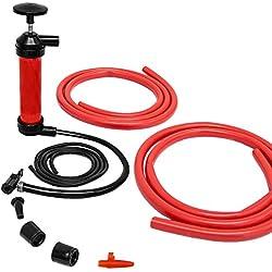 Pompe à main multifonctionnelle | pour Gonfler/Aspirer air et liquides | pour Vider Transférer essence carburant eau | Gonfleur manuel pour vélo ballons | rouge