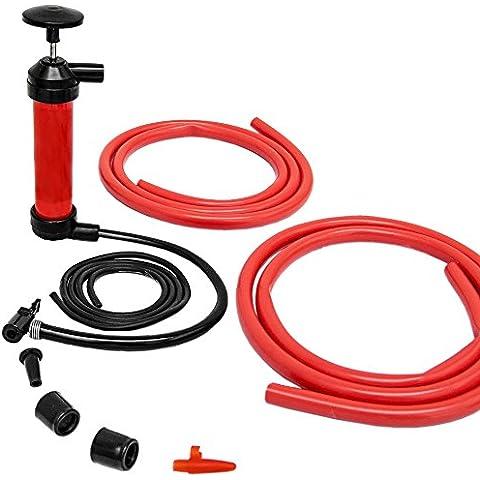 Pompa multifunzione | Gonfia / Aspira | Pompetta a mano per gonfiare bici materassini e aspirare benzina liquidi fluidi | Universale | Incl tubi accessori | Rosso