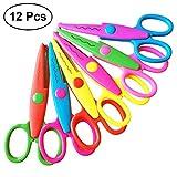 YeahiBaby Bastelschere Set Kinderscheren Schere mit Verschiedenen Schnittmustern für Kinder Kleinkind 12 STÜCKE (Verschiedene Farben)