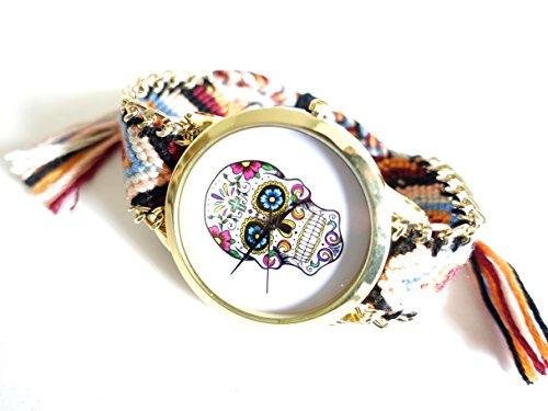 réf1s82BR.93–Reloj Pulsera tejida marrón y burdeos–diseño de calavera mexicana Hippie Bohemia–Cadena Dorada–ajustable–estilo Boho Chic
