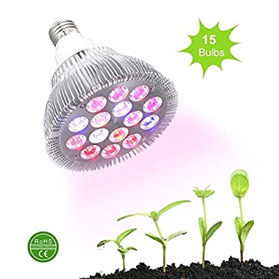 Ledgle LED Lights Grow Lights,30W Plant LED Grow Light E26 Plant Bulbs for Garden Greenhouse,Hydroponic and Family Balcony Full Spectrum Grow LED Lamps,3 Wavelengths with 15pcs LED Bulbs
