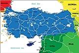 Poster 91 x 61 cm: Türkei - Politische Karte von Editors