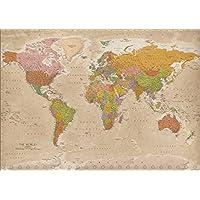 Poster XXL Carte du monde 2018 - Vintage - MAPS IN MINUTES® (140cm x 100cm)