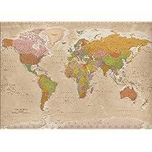 Weltkarte XXL Poster Vintage 2017 - MAPS IN MINUTES® (140cm x 100cm)