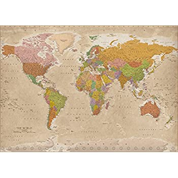 poster xxl mappemonde carte du monde style ancien vintage 140cm x 100cm cuisine. Black Bedroom Furniture Sets. Home Design Ideas