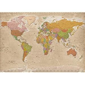Póster XXL Mapa del Mundo 2018 – Vintage / Antiguo MAPS IN MINUTES® [Versión en Inglés] (140cm x 100cm)