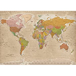 Weltkarte XXL Poster Vintage 2017 – MAPS IN MINUTES® (140cm x 100cm)