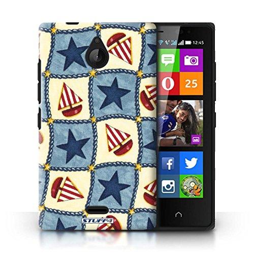 Kobalt® Imprimé Etui / Coque pour Nokia X2 Dual Sim / Rouge/Vert conception / Série Bateaux étoiles Bleu/Rouge
