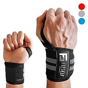 Handgelenkbandage Premium Qualität (2er Set) - Wrist Wraps 45 cm - Profi Bandagen für Fitness, Kraftsport, Bodybuilding & Crossfit Training - Hochwertige Handgelenkstütze- 2 Jahre Gewährleistung (schwarz/grau)