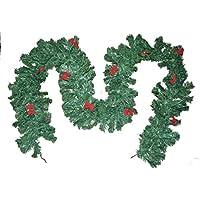 warenplus2014 Fir Garland with 11 Small Red Bows, Fir Garland, Christmas Garlands, Green Artificial