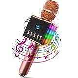 Karaoke Mikrofon, MODAR Karaoke Mikrophon Bluetooth 4.1 mit schönem Licht, kompatibel mit Android /IOS, PC, Ideal für Musik abspielen und singen (Sprach- und Gesangsaufnahmen), tragbares drahtloses Karaoke Mikrofon für Kinder, unterstützt 16GB TF Karte, Rose Gold