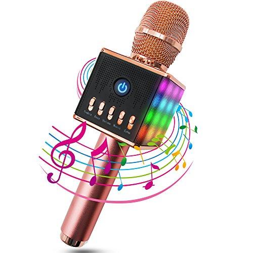 ERAY Karaoke Mikrophon Bluetooth 4.1 mit schönem Licht, Android /iOS, PC, Ideal für Musik abspielen und singen,drahtloses Karaoke Mikrofon Kinder