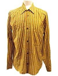 Chemise à manches longues pour hommes - Rayé sable/ brun terreux - imprimé à la main avec des blocs de bois sculpté à la main- 100% coton - Commerce équitable