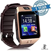 Padraig Bluetooth Smart Watch Phone With Camera and Sim Card Support With Apps like Facebook and WhatsApp Touch Screen multilanguage Android/IOS mobile Phone Wrist Watch Phone with activity trackers and fitness band features & compitable with redmi note 4
