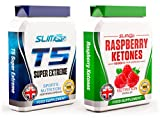 T5 FAT BURNERS x60 + RASPBERRY KETONES x60 - T5 Super Extreme Max Strength Thermogenic Fat Burner and Raspberry Ketone Capsules - Slimming Diet Pills | Suppress Appetite, Boost Metabolism and Increase Energy for Weight Loss