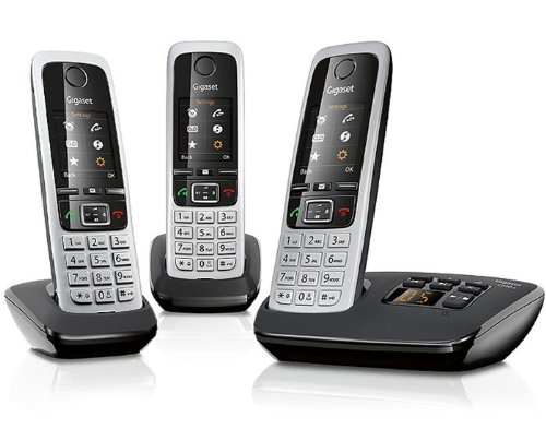 Produktbild Gigaset C430A Trio - 3 Schnurlostelefone mit Anrufbeantworter (DECT-Telefon mit Freisprechfunktion,  klassische Universal-Mobilteile mit TFT-Farbdisplay) schwarz-silber