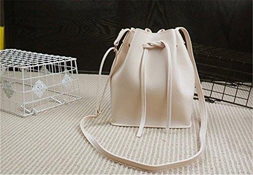 Remeehi giovani donne una spalla mano borsa a tracolla piccola borsa secchiello, Yellow (Grigio) - JXQ0696-4 White