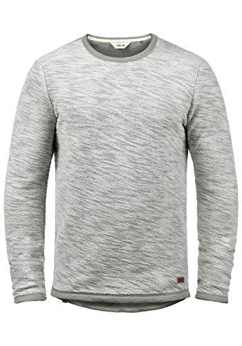!Solid Flocks Herren Sweatshirt Pullover Flocksweat Pulli Mit Rundhalsausschnitt Aus 100% Baumwolle, Größe:S, Farbe:Mid Grey (2842) - Baumwolle Pullover Pullover