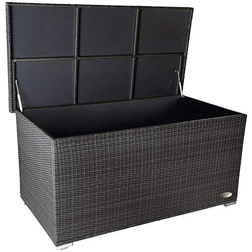 PREMIUM \'Venezia\' 950 L Polyrattan Garten Kissenbox wetterfest (regnet nicht rein) 146 x 83 x 80 cm, Auflagenbox mit verstärktem Deckel und Gasdruckfedern, auch als Tischplatte geeignet, Silber
