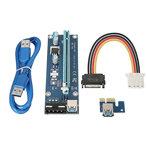 ELEGIANT USB 3.0 PCI-E Express 1x zu 16x Extender Riser Card Adapter Power Kable Mining -