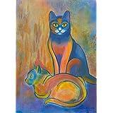Minka und Felix: Katzengeschwister, ruhig sitzende Katzen in vertrauter Zweisamkeit