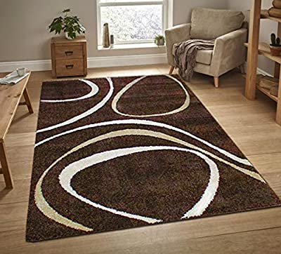 New Modern Chocolate Brown Beige Cream Contemporary Quality Soft Rug 120x170cm - low-cost UK light store.