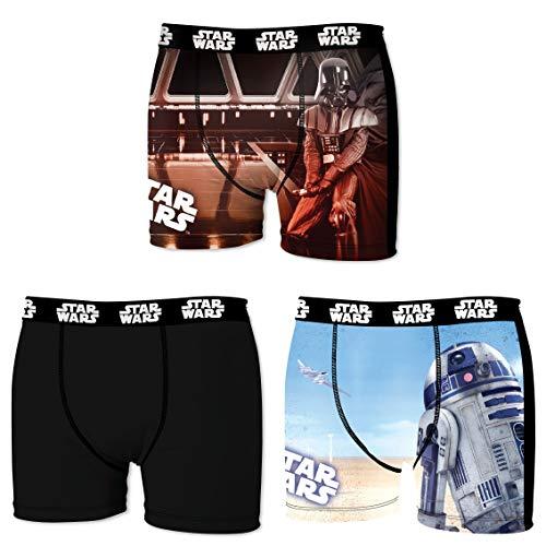 Star Wars Herren Boxershorts, R2D2, Chewbacca, Darth Vader, T-Fighter, Druide BB8 (L/6/50, Dreierpack No.2)