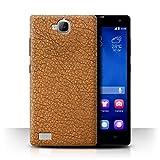 Stuff4 Hülle / Case für Huawei Honor 3C / Kakao Braun Muster / Leder Patch Effekt Kollektion