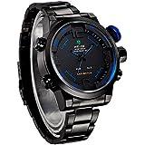 Excelvan® WEIDE Multi-function Military Watch for Men Watch men Quartz Watches Full Stainless Steel Watch 30 Meters Waterproofed BLUE