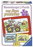 Ravensburger 06573 - My First Puzzles - Bagger, Traktor und Kipplader, 3 x 6 Teile Rahmenpuzzle