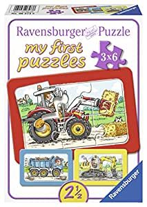 ravensburger kinderpuzzle bagger traktor und kipplader 06573 3 rahmenpuzzles jeweils 6. Black Bedroom Furniture Sets. Home Design Ideas