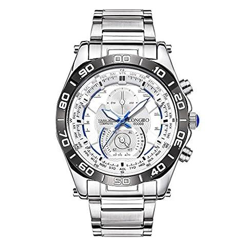 Longbo Herren Wasserdicht Luminous Uhren Chronograph Silber Edelstahl Weiß Big Zifferblatt Quarz (Chronograph Metal-band)