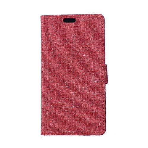 Huawei Y5 II / Y5 2 Cover,Huawei Y5 II / Y5 2 Custodia,Cozy hut [Premium Portafoglio Protettiva] [Retro modello di canapa] Modello Design Wallet Flip Bookstyle Con Cinturino da Polso Magnetico Snap-on Book style Internamente Silicone TPU Custodie Case in pelle Protettiva Flip Cover per Huawei Y5 II / Y5 2 (5,0 Zoll) - rosso