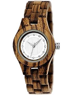 Handgefertigte Holzwerk Germany® Designer Damen-Uhr Öko Natur Holz-Uhr Braun Weiß Zebra Muster Armband-Uhr Analog...