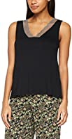 Iris & Lilly Women's V-Neck Pyjama Tank Top, Black (Black Beauty), X-Large