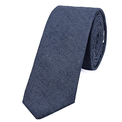 DonDon Corbata estrecha de algodón para hombres de 6 cm con look...