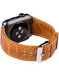 Apple Watch Banda Series 1 & 2 & 3, FUTLEX de 42mm , Banda para la muñeca de cuero Heritage auténtico, repuesto de correa con broche para Apple Watch - Naranja - Adaptadores Incluidos