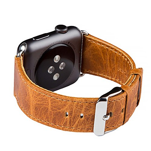 Apple Watch Banda Series 1 & 2, FUTLEX de 42mm , Banda para la muñeca de cuero Heritage auténtico, repuesto de correa con broche para Apple Watch - Naranja - Adaptadores Incluidos
