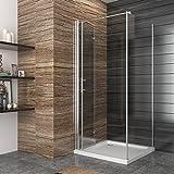 Duschkabine Falttür Duschabtrennung 100x80cm Eckeinstieg Duschtür Eckdusche Duschwand aus Sicherheitsglas Test