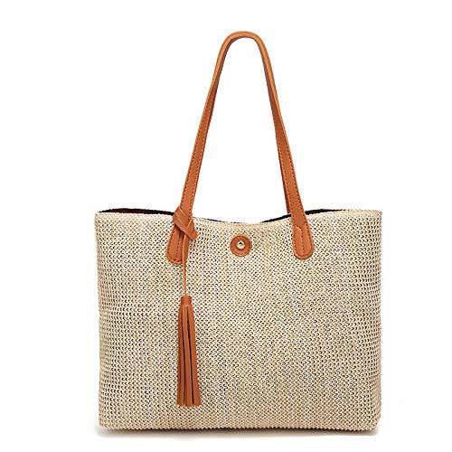 ZPYHJS Straw Bag Sommertaschen für Damen Handmade Woven Beach Handbag Umhängetasche @ Brown