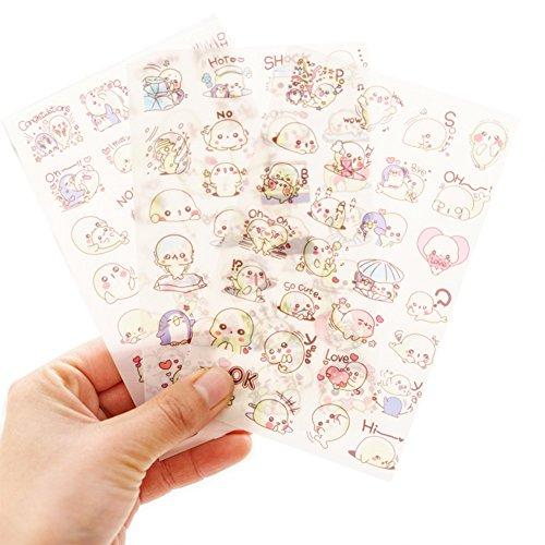 Hacoly 6pcs Kinder Sticker Bomb 3D Transparent Seelöwe Baby PVC Aufkleber DIY Notizbuch Fotoalbum Tagebuch Scrapbooking Deko Stationery Siegelaufkleber Perfekte für Freunde und Klassenkameraden -
