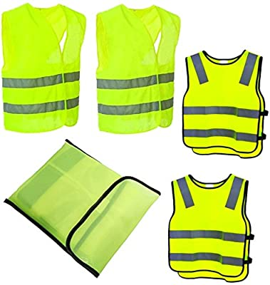 4er Warnwesten Sicherheitswesten Set Waschbar I 2 Erwachsene + 2 Kinder I Neon Gelb I 360Grad Reflektierende Signalweste